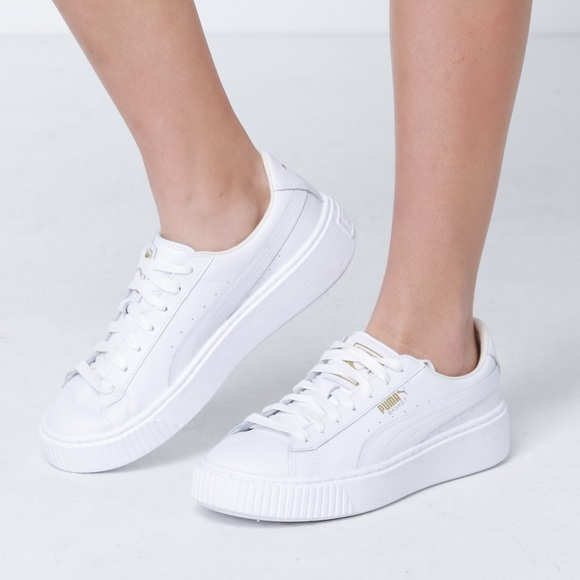 b882f80d66 Puma White and Gold Platform Core Sneakers